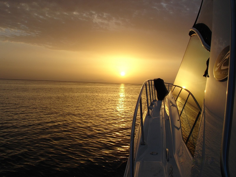 Sunset cruise on board of sea ray 52 in latchi